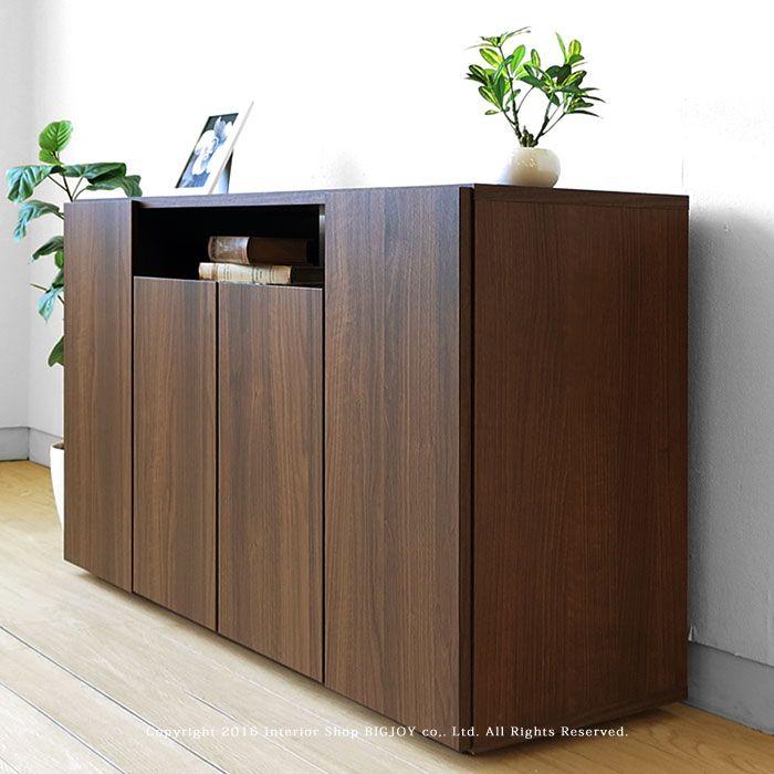 【楽天市場】幅120cm奥行39cmの薄型設計 ウォールナット色のシンプルでオシャレなキャビネット サイドボード WEED-CB120:JOYSTYLE interior