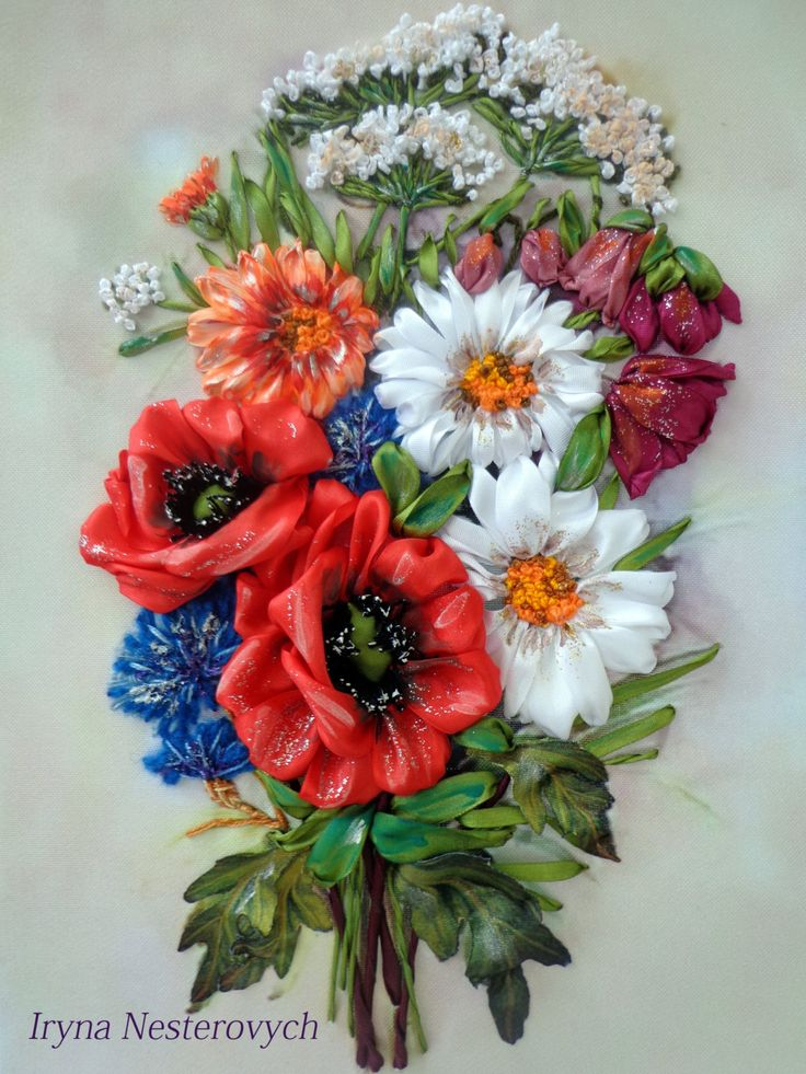 Embroidery with poppies by RibbonEmbroiderySilk on Etsy