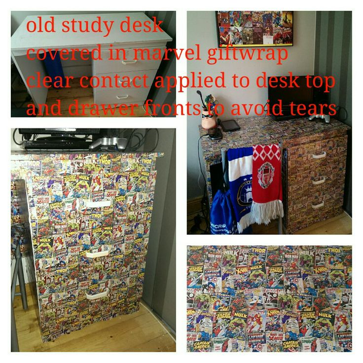 An old study desk I updated by covering with marvel giftwrap then applying clear contact to the desk top and drawers.