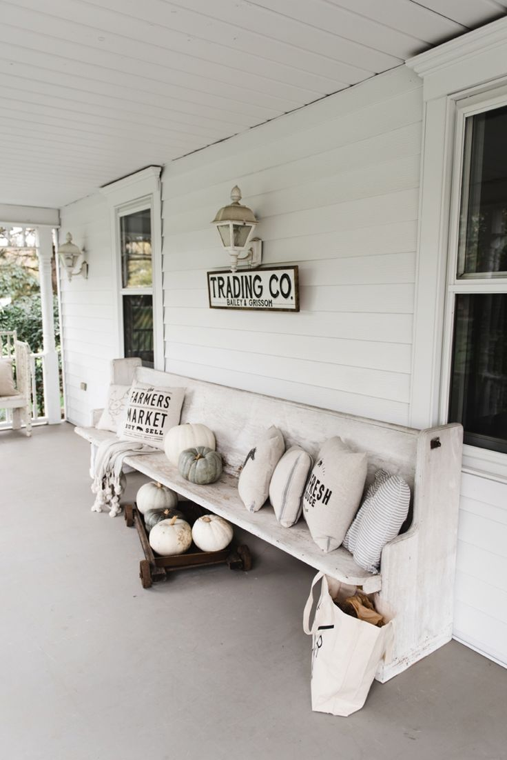 top 25 best farmhouse front porches ideas on pinterest front fall church pew on the porch