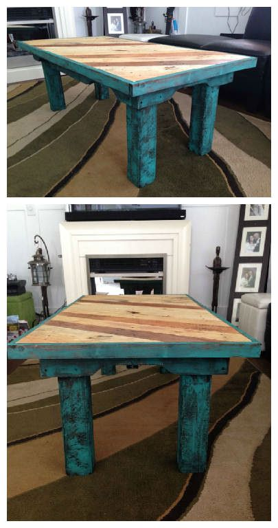 #PalletTable, #ReclaimedPallet Coffee table made from reclaimed pallets, painted with chalk paint and 3 coats of varathane.