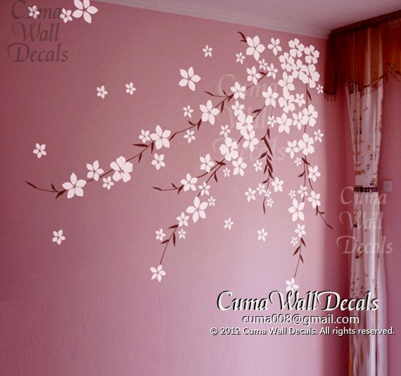 cerise fleur mural stickers fleurs de cerisier vinyle wall stickers fille pépinière mur Stickers autocollant enfants wall decal-Cerisier japonais Z168 cuma sur Etsy, 43,52 € #deco #cherryflowers #sakura