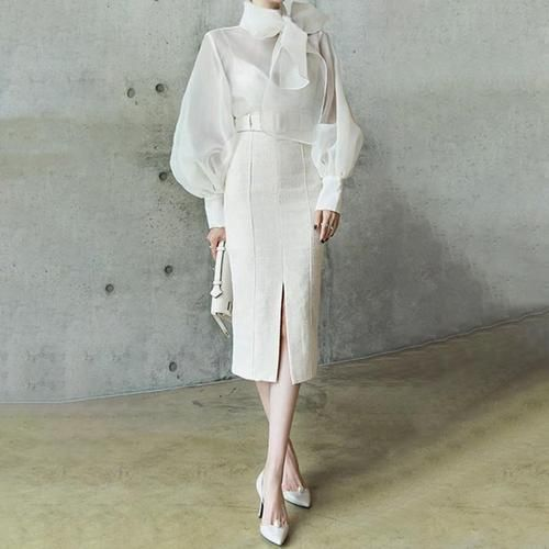 Women's Blouse Elegant Perspective Lantern Sleeve Lace Up Plus Size for Autumn Women's Blouse Elegant Perspective Lantern Sleeve Lace Up Plus Size for Autumn