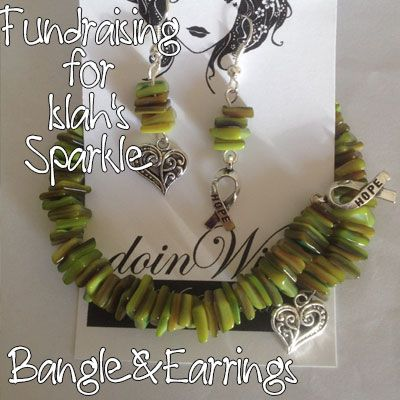 IslahsSparkle Memory Wire Green Stone Chips Bangle and MisMatched Heart/Awareness Charm Earrings https://www.facebook.com/IslahsSparkle