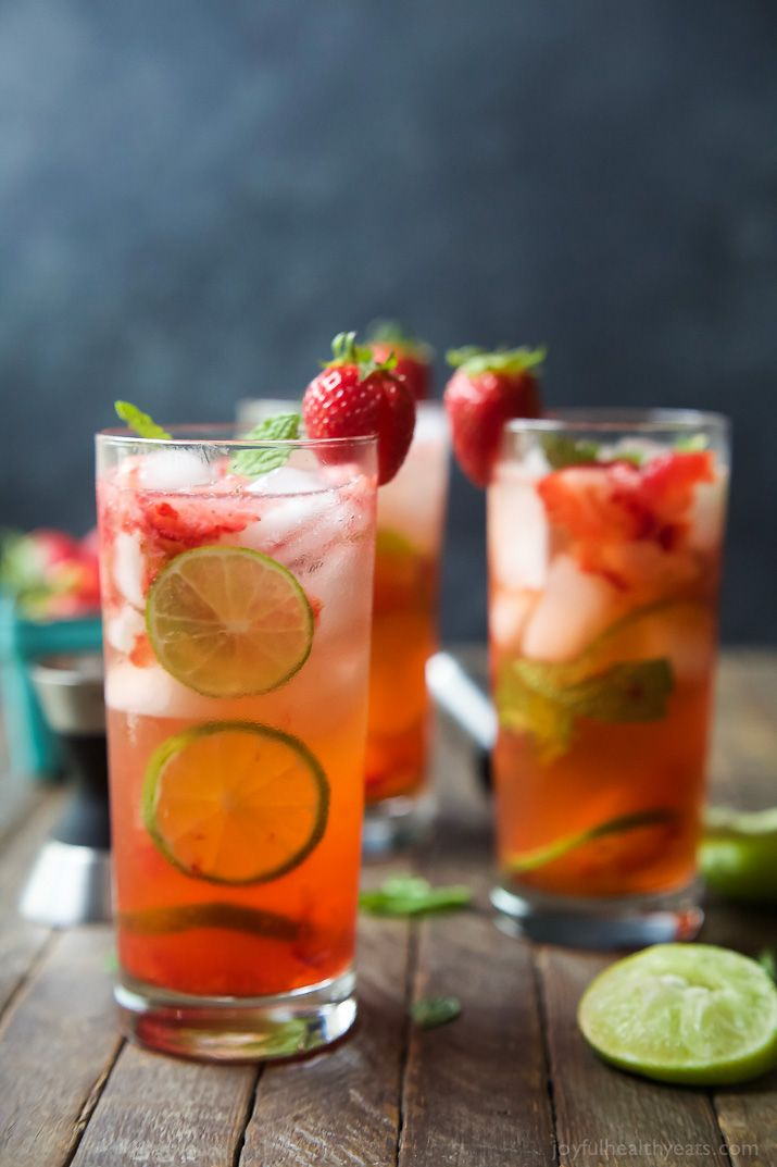 The perfect Strawberry Mojito Recipe - easy, fresh, minty, fizzy, limey and filled with sweet juicy strawberries for the most refreshing cocktail this summer! It is sure to quench your thirst! | http://joyfulhealthyeats.com