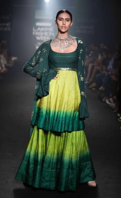 Divya Reddy's latest collection has some beautiful green lehengas #Frugal2Fab