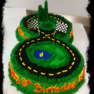 """Figure 8 race track cake with 2 10"""" cakes"""