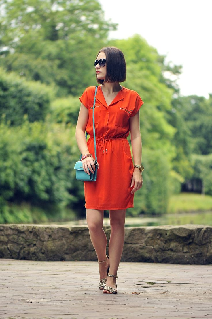 ShinySyl wearing Mohito energetic orange dress #mohito