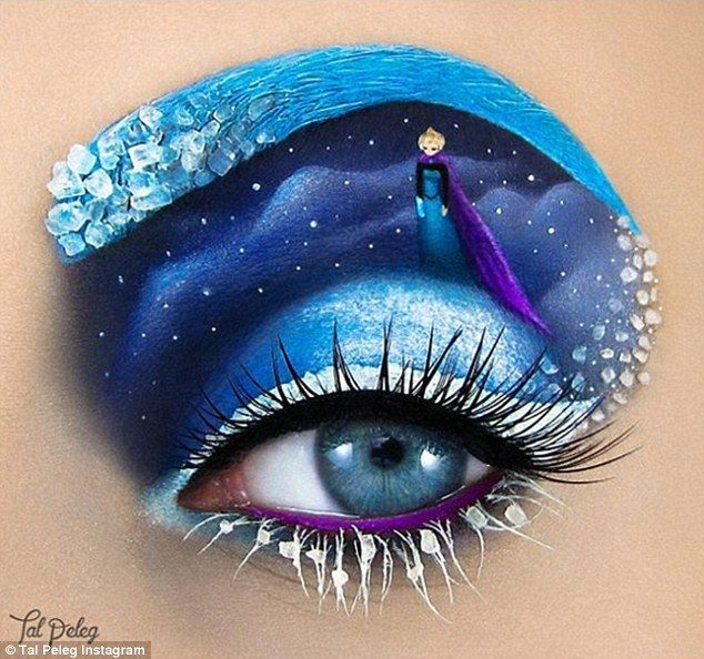 Do you want to build a snowman? Isreali  artist Tal Peleg draws inspiration from fairytales such as Frozen (pictured) for her incredible make up designs