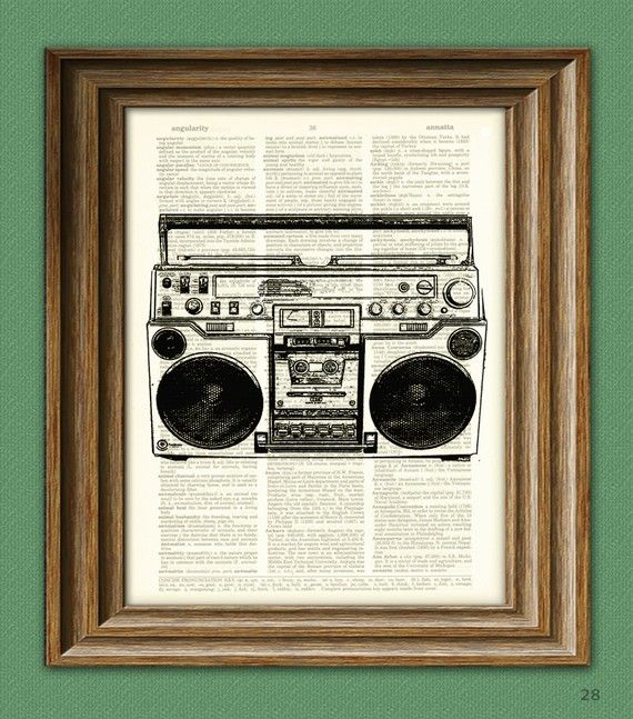 Cool BOOMBOX ghetto blaster tape player print over an upcycled vintage dictionary page book art