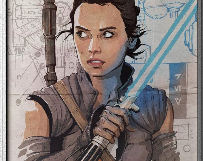 Rey - STAR WARS - The Last Jedi - Episode VIII - The Force Awakens - Hero Poster - Movie Character Poster - Original Art Poster #ad