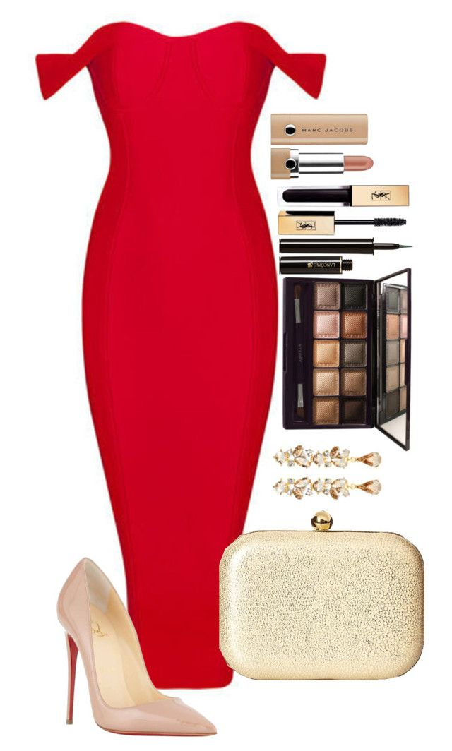Untitled #1484 by fabianarveloc on Polyvore featuring polyvore fashion style Christian Louboutin Jessica McClintock Ben-Amun By Terry Yves Saint Laurent Lancôme Marc Jacobs clothing