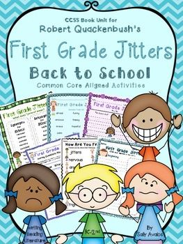 REVISED 135 page packet of First Grade Jitters activities and graphic organizers to use with the book by Robert Quackenbush.  Aligned to common core for k-2nd, differentiated, and available in color and black  white.I've included two different color copies.