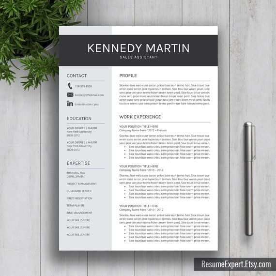 resume template cover letter cv template word by resumeexpert - Modern Resume Template Word