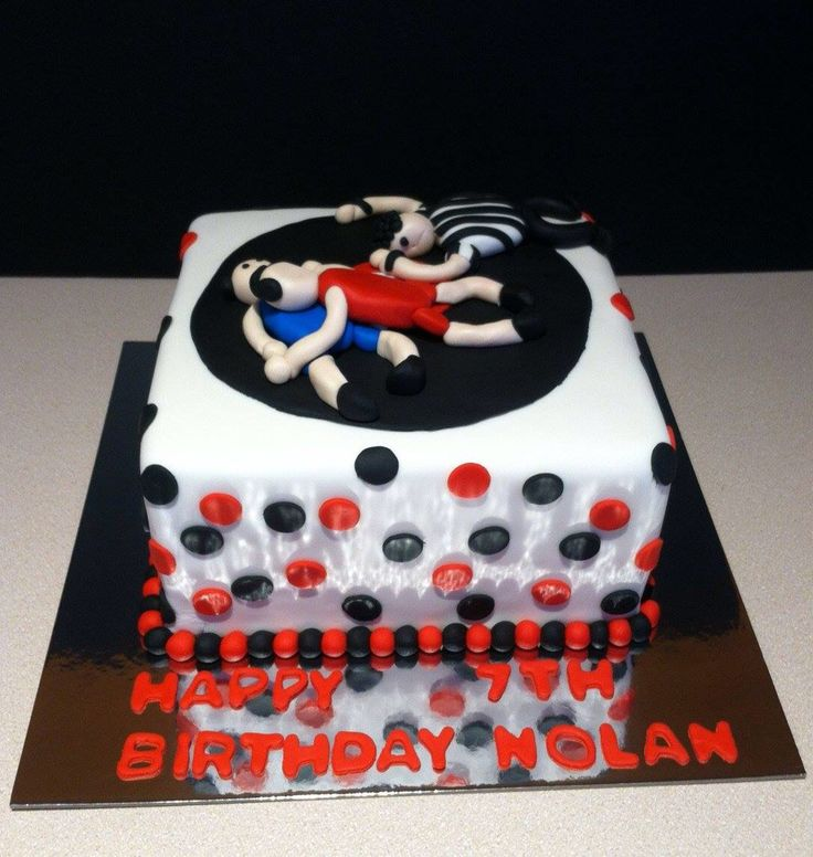 Wrestling Birthday Cake by Lyssa's Bakery