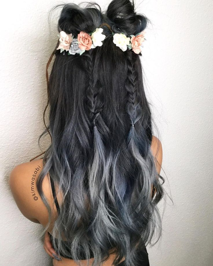 "(@kimwasabi) on Instagram: ""Coachella Hair ready. Midnight Blue Silver Smoke hair☑️ Braids☑️ Flowers ☑️ Beautiful @serenerz_ ☑️…"""
