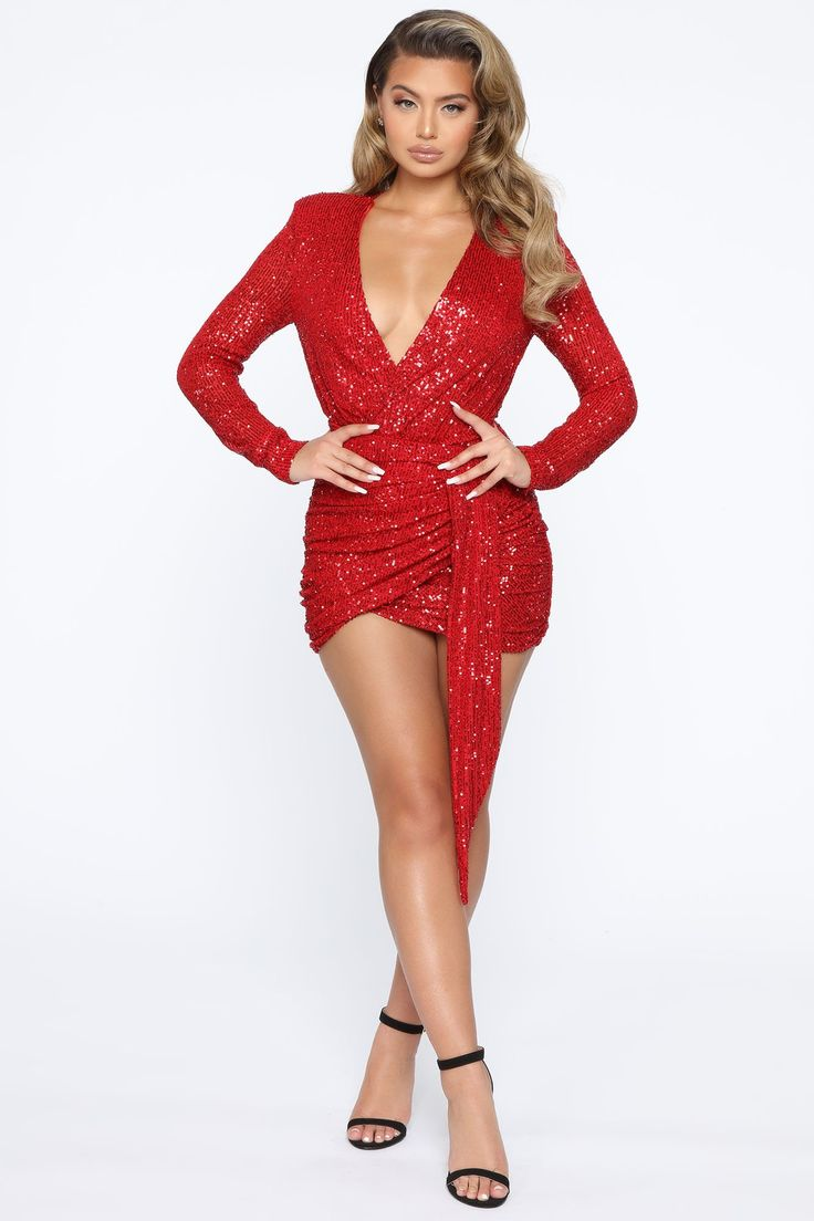 Center Stage Sequin Mini Dress Red in 2020 Red mini