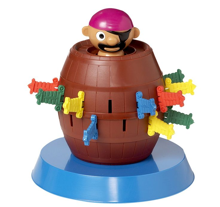 """Pop Up Pirate- Yo-ho-ho and a barrel of laughs! Pop-Up Pirate Game is family fun. Kids slide their swords through the slots in the barrel and beware! If the sword goes into the wrong slot, up pops the pirate, which means """"yer"""" out."""