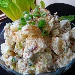 Seductively creamy with a sour cream-mayonnaise dressing, this skins-on red potato salad is seasoned with dried dill to distinguish it from the standard version.