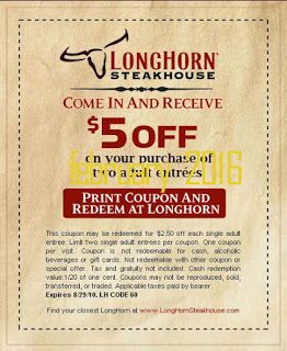 Free Printable Coupons: Longhorn Steakhouse Coupons
