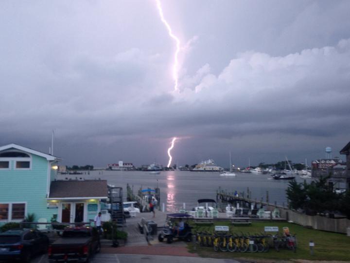 Lighting Strike From The August 8th Tornado Warning On The Silver Lake Harbor Viewed From The Ocracoke Harbor Inn Overlooking Ocracoke Island Ocracoke Island