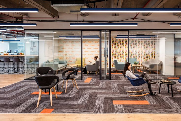 Open space and work lounge area from Intango Offices – Tel Aviv