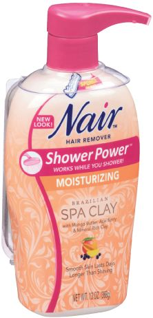 Nair Hair Remover Shower Power Moisturizing Brazilian Spa Clay with Mango Butter, Acai Berry & Mineral-Rich Clay • with sponge