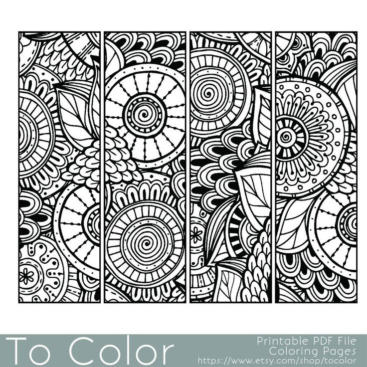 Bookmarks Coloring Page for Grown Ups Instant Download