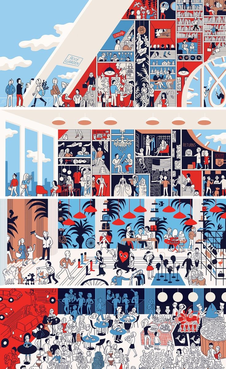 The Perfect Department Store - Monocle Magazine 62 by ♨ Tomi Um ♨ #illustration #Monocle #color
