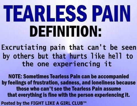 Tearless Pain | Because no one can spend literally their entire life in tears. It would be exhausting & dehydrating to an already stressed body. In fact, a big crying session can leave me with a migraine, palpitations & aches & severely increased fatigue on top of the original pain! | #ChronicPain #Fibromyalgia