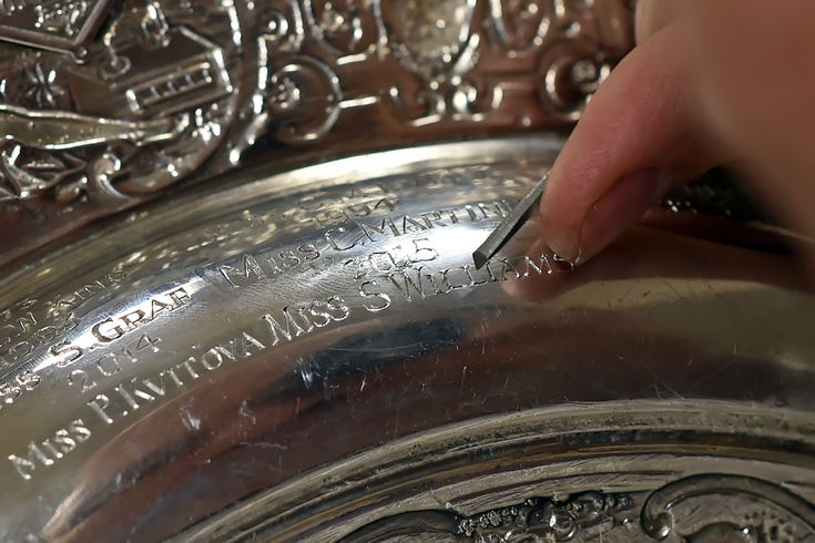 The name Serena Williams is engraved on the Ladies' Singles Trophy