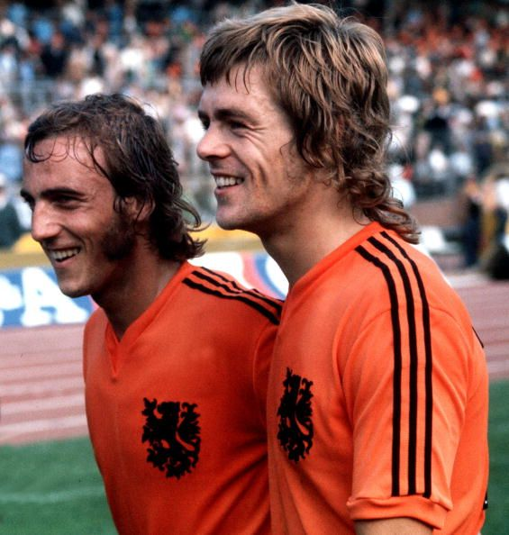 Football, 1974 World Cup Finals, 15th June 1974, Hannover, Germany, Holland 2 v Uruguay 0, Holland's stars Johan Neeskens (left) and Johnny Rep, the scorer of both goals, after the game