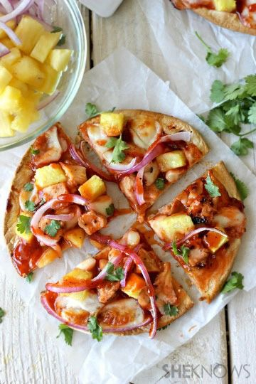 This would be good baked on a baking stone:  Hawaiian barbecue chicken flatbread pizza