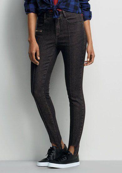 45eb40b15 Calça Jeans Feminina Em Algodão Com Pézinho Com Elástico