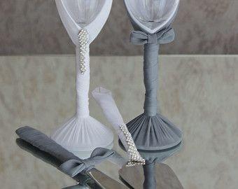 Calici per le nozze Swarovski Crystal champagne di LuxeFlowerl