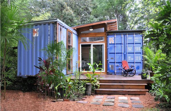 A well designed and laid out space made out of reclaimed containers and other salvaged materials