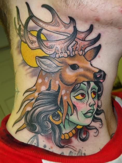 Deer And Girl Tattoo