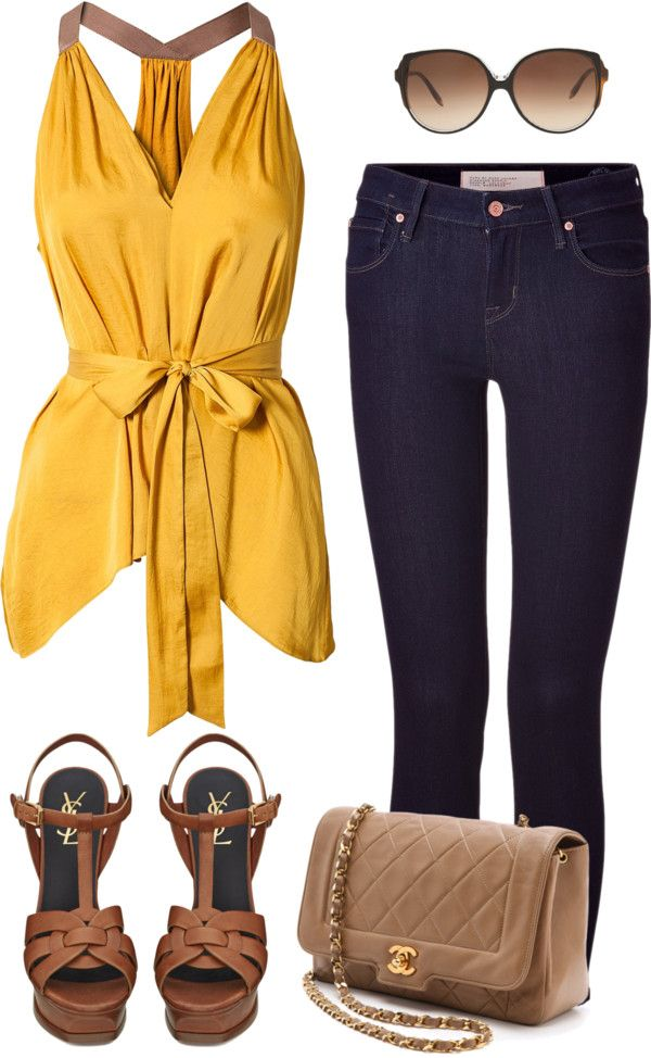 """Max Azria Top w/ Dark Wash Jeans, YSL Heels & Chanel Bag"" by sarratori ❤ liked on Polyvore"