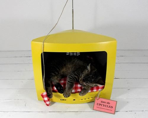 Good idea for an old TV shell: Cat Beds, Vintage Suitcases, Tv Cat, Upcycled Pet, Pet Beds, Old Tv, Cool Ideas, Cat Houses, Tvs