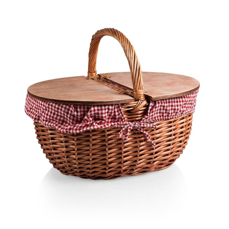"SHORT DESCRIPTION: Willow picnic basket with wooden split-lid design for dual entry. Includes removable cotton/poly liner. 17.5"" x 13"" x 8/14"""
