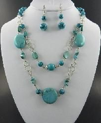 http://yardsellr.com/for_sale#!/two-layered-turquoise-beaded-necklace-and-earring-set-3403586 Two Layered Turquoise Beaded Necklace and Earring Set
