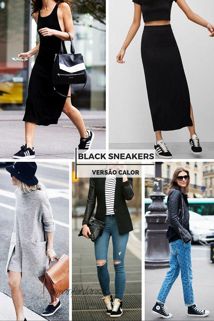 A vez agora é dos tênis pretos! Se inspire com esses looks variados para usar a peça no calor: com vestido, saia longa ou o bom e velho jeans.