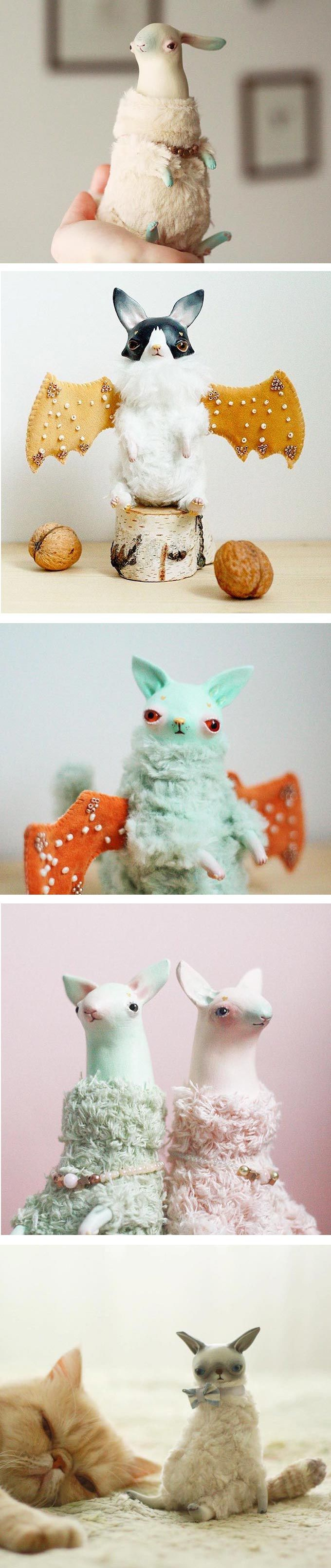 Claymate Creatures is the Etsy shop of Daria Lapto, a doll artist from Ulyanovsk, Russia. They're hybrids or a fantastical reimagining of bats and wolves.