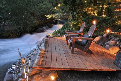 This deck is very simple, yet nature such as this doesn't need to be upstaged by decks. Instead, te perfect accompaniment is the simplest, yet most useful deck that blends with nature. I have the perfect location in mind to build a deck such as this onet. A place filled with nature and with a rushing river running through its backyard. ~EBM