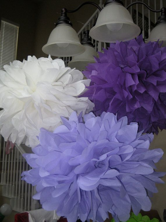 Paper Pom Poms - 10 Tissue Poms - Your Color Choice- SALE - Fancy Nancy Party - Tinkerbell Party