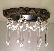 """Victorian Recessed Light Trim with 3"""" clear U-drop crystals"""