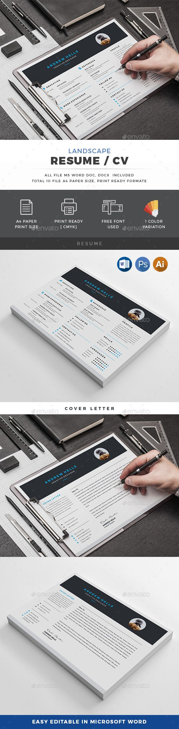 free creative resume templates that stand out%0A Landscape Resume