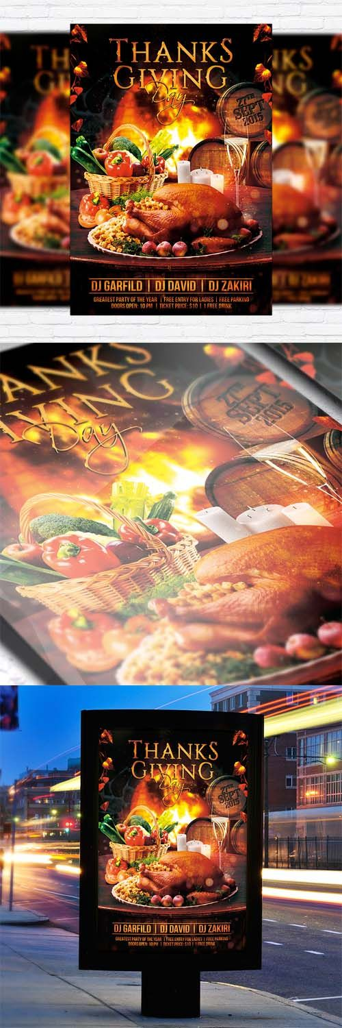Flyer Template - Thanks Giving Day + Facebook Cover