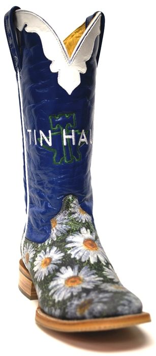 "Tin Haul Women's Daisy Boots -- What pair of cowboy boots could be better than these with the ""He Loves Me"" quote written on the sole? 