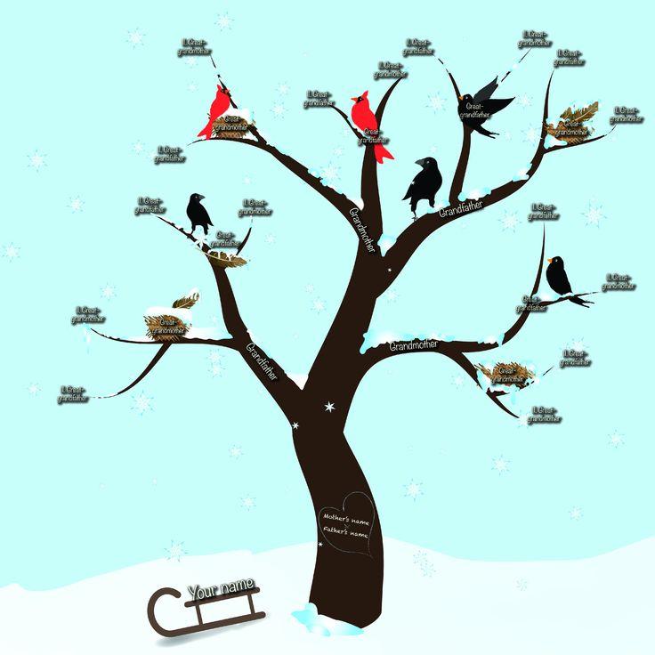 """SLEVA!!! Rodinný Strom """"Zima"""" - 5 generací Zašlete mi informace, které chcete do vašeho rodinného stromu zařadit a já vám zašlu strom v digitálním formátu (jpg nebo png) zobrazující vaše kořeny. Na formátu/ rozměrech se můžeme domluvit. Formát mohu upravit na A4, A3 nebo pro tisk plakátu podle vašich požadavku. Tisk si pak můžete obstarat v kterékoliv tiskárně. Je to ..."""